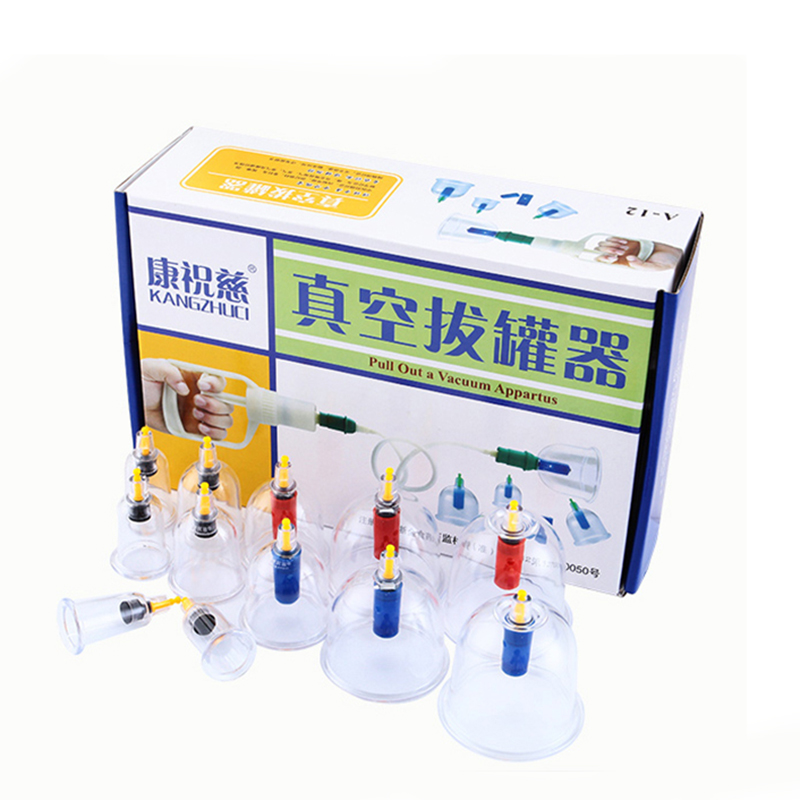 12 Pieces Cans Cups Chinese Medical Vacuum Cupping Kit Pull Out a Vacuum Apparatus Therapy Relax Massager Curve Suction Pumps 12pcs cups 6pcs magnetic needle extension tube pump chinese modern vacuum healthy cupping set massage therapy suction apparatus