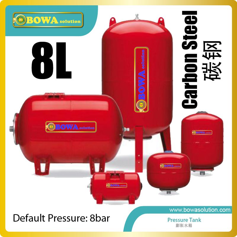 8L Carbon Steel Pressure Tank Works Like A Shock Absorber And Take Excess Water Volume And Pressure In Water Chiller Systems