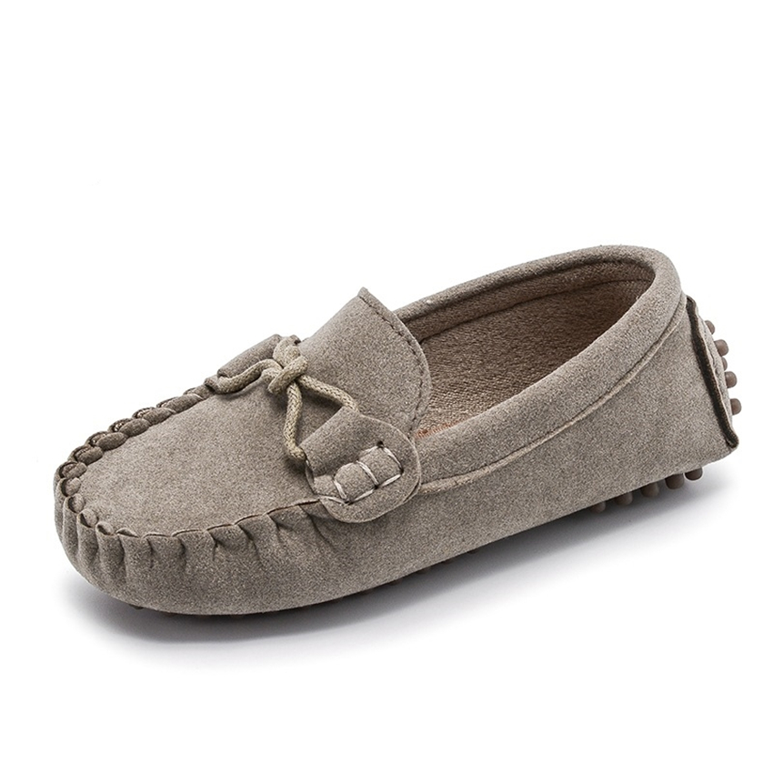Autumn Kids Loafers Flat Casual Boys Girls All-match Leather Shoes Simple Gray Soft Rubber Baby Toddler Slip-on Shoes Size 21-35