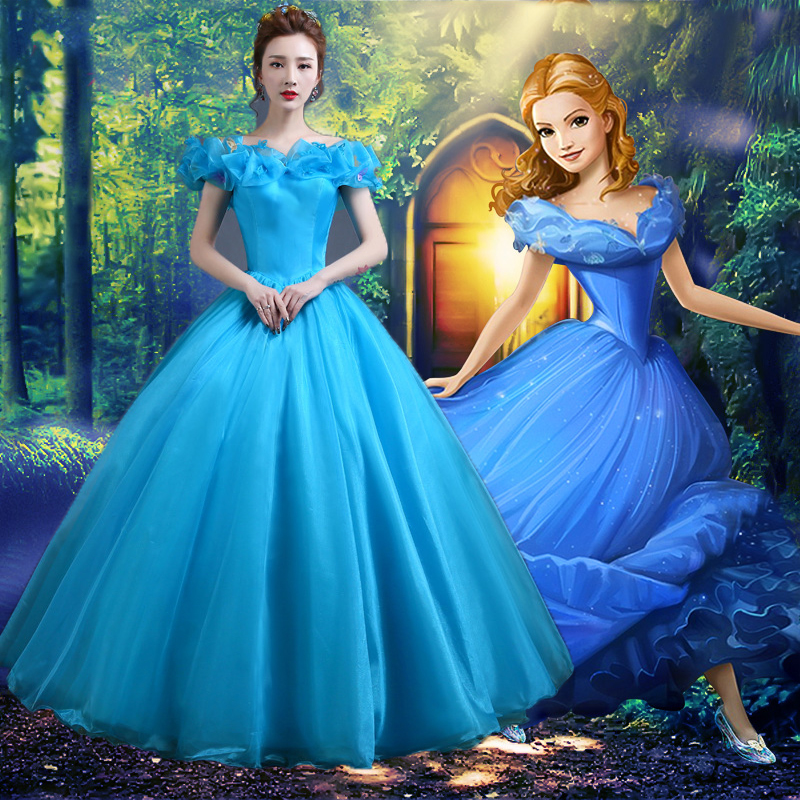 2019 New Movie Cinderella Princess Dress Gorgeous Costume Cosplay Halloween Costumes For Women Can Be Custom-made Free Shipping