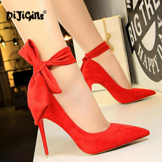 828fd28dccfe Women Pumps Sexy Pointed Toe Ladies Red High Heels Shoes sandal Ankle Strap  Wedding Party Shoes Drop Shipping