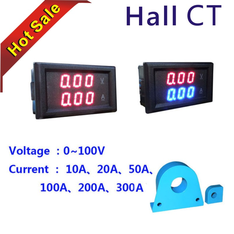 US $9 77 |YB28VA DC 0 100V 600V LED Dual Voltmeter Ammeter Digital Display  Voltage Current Meters Tester Current Transformer CT Volt Amp-in Current