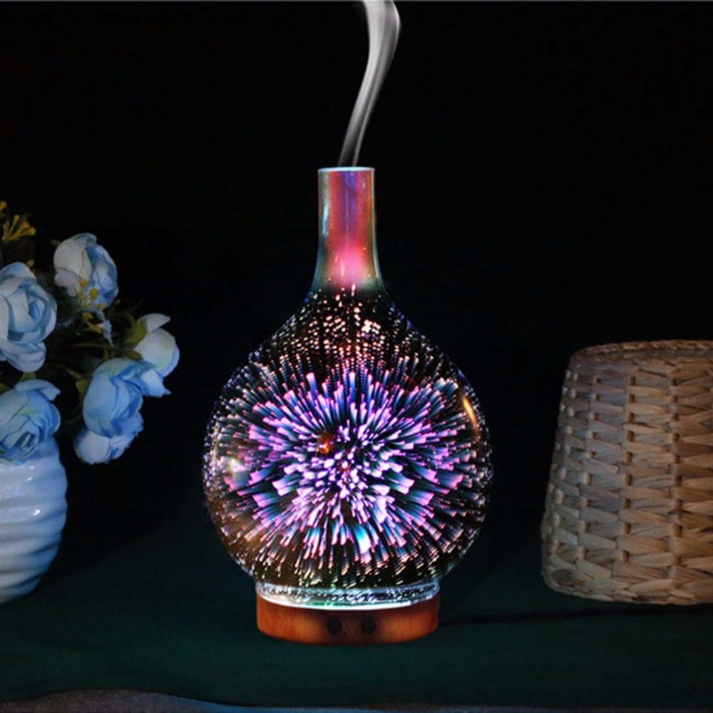 Creative 3D Glass Humidifier Home Essential Oil Diffuser Aromatherapy Mist Maker With 7 Colors LED Night Light Air Purifier NEW 7 colors leds night light 3d glass humidifier home essential oil diffuser aromatherapy air purifier 2018 new