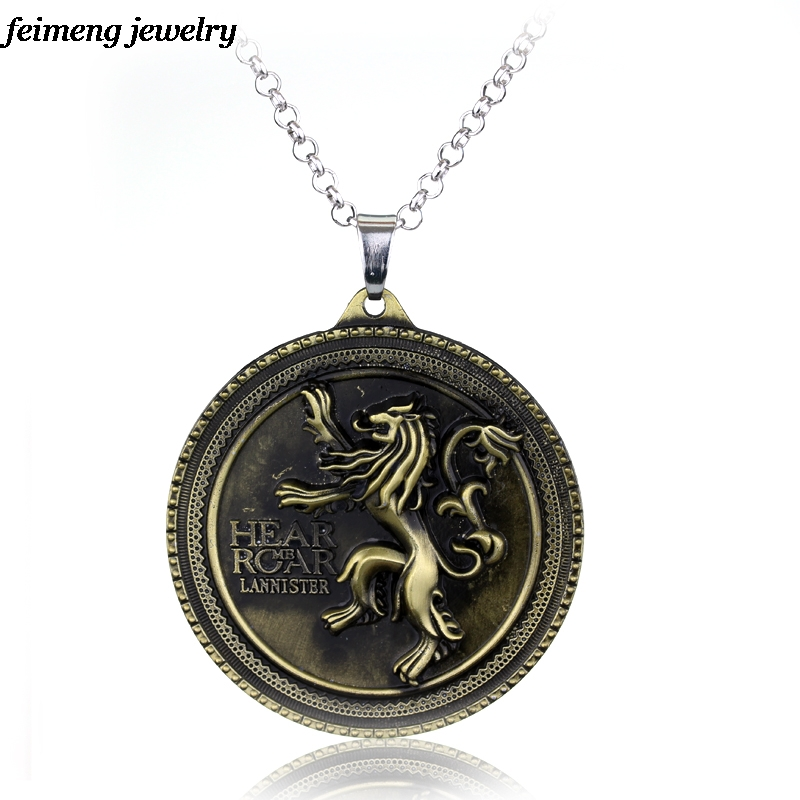 Game of Thrones The Song Of Ice And Fire House Lannister of Casterly Rock Metal Coin Chocker Necklace Cosplay Accessories