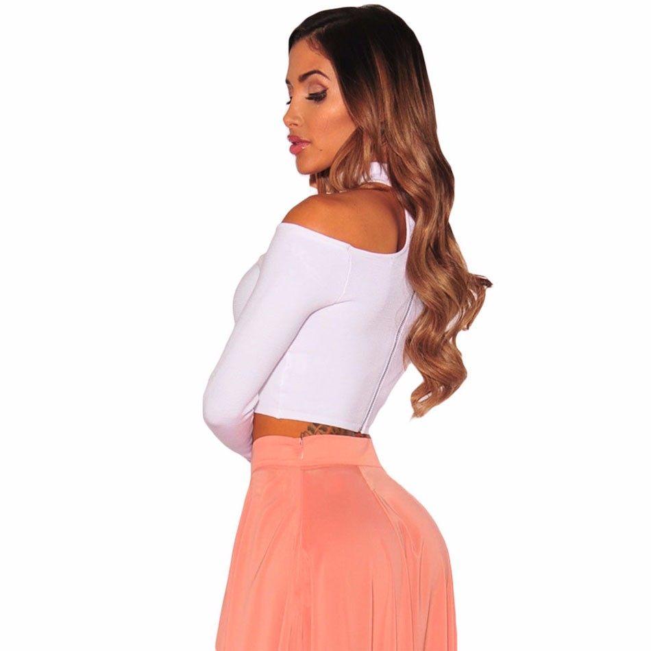 White-Sleeved-Off-Shoulder-Choker-Crop-Top-LC25870-1-2