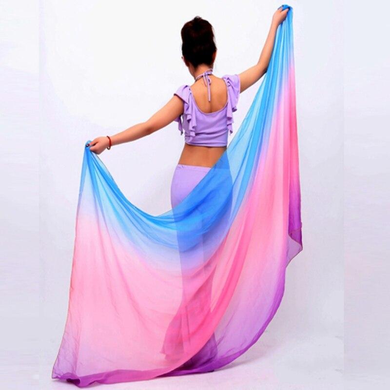* Beauty Vrouwen Buikdansen Kostuums Chiffon Garen Sjaal Effen Buikdans Sluiers Stage Prestaties Props H Goede Warmteconservering