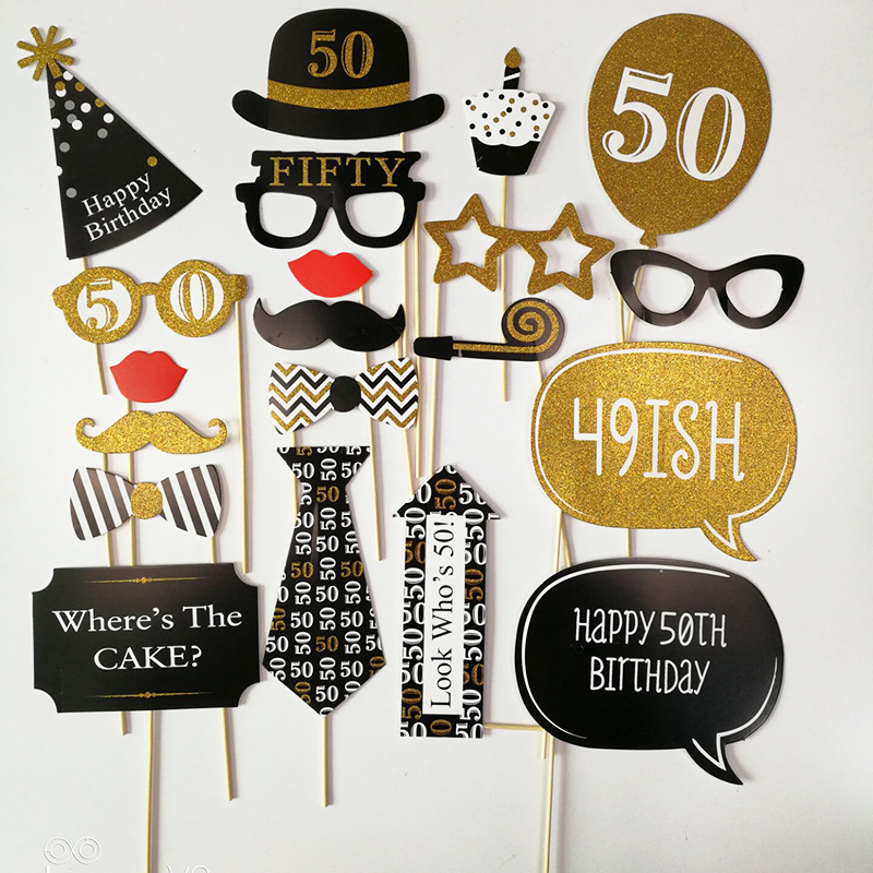 21 30 40 50 60 Years Old Birthday Photo Booth Party Decorations Adult Happy Protobooth Anniversaire