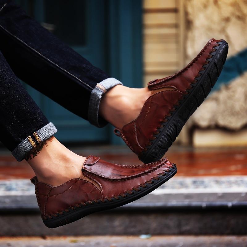 Casual Mens pantofi loafers pantofi autentic de vacă din piele - Pantofi bărbați - Fotografie 6