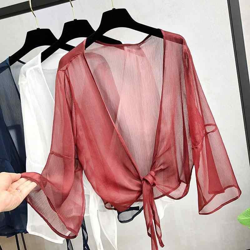 Повседневные пляжные кардиган из шифона, блузка женские с расклешенными рукавами однотонные летние топы прозрачная одежда