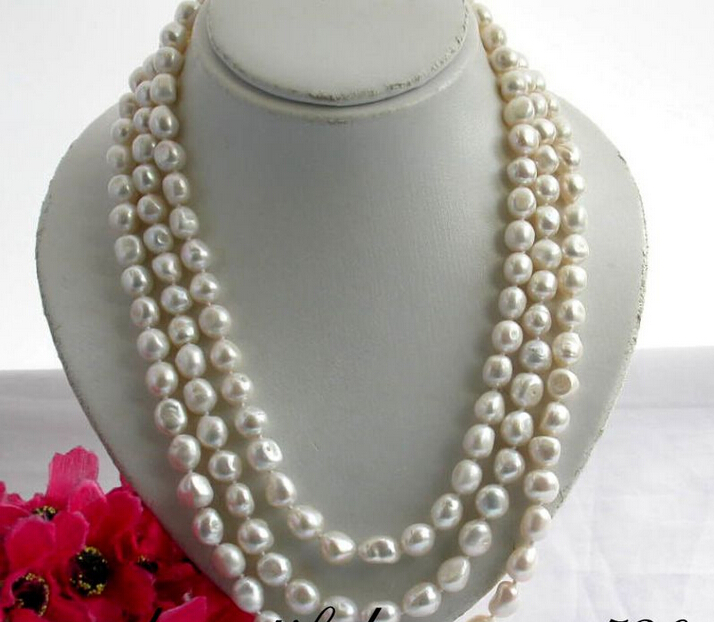 shipping Z2053 NATURAL 11mm baroque white freshwater pearl 3ROW necklace