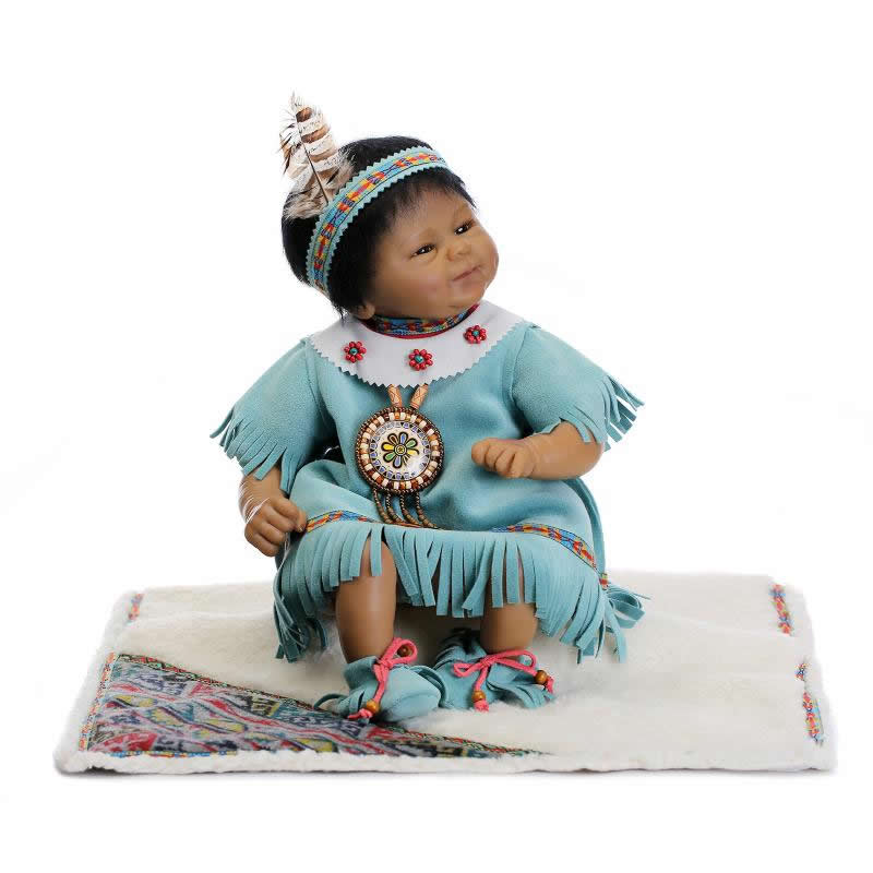 ФОТО 17 inch Black Skin Reborn Baby Doll Soft Silicone With Ethnic Clothes Looking Real Vinyl Reborn Baby Toy New Design Kits Gifts