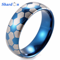 SHARDON 8mm Men's Dome Blue Tungsten Carbide Soccer Ball design ring with white style laser Wedding Ring for Men football rings