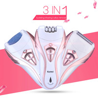Kemei 3 In 1 Rechargeable Lady Epilator Electric Hair Removal Depilador Callus Dead Dry Skin Remover Hair Shaver Foot Care Tool