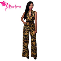 Dear Lover Sexy Club Jumpsuit Long Vintage Black Yellow Tapestry Print Belted Romper Womens Overalls Combinaison