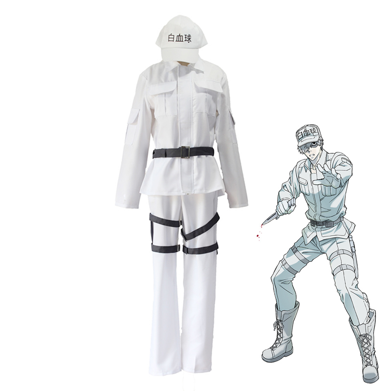 Hataraku Saibou Leukocyte U-1146 Cosplay Costume Cells at Work White Blood Cell Uniform Suits ( Hat + Jacket + Pants + Belt )