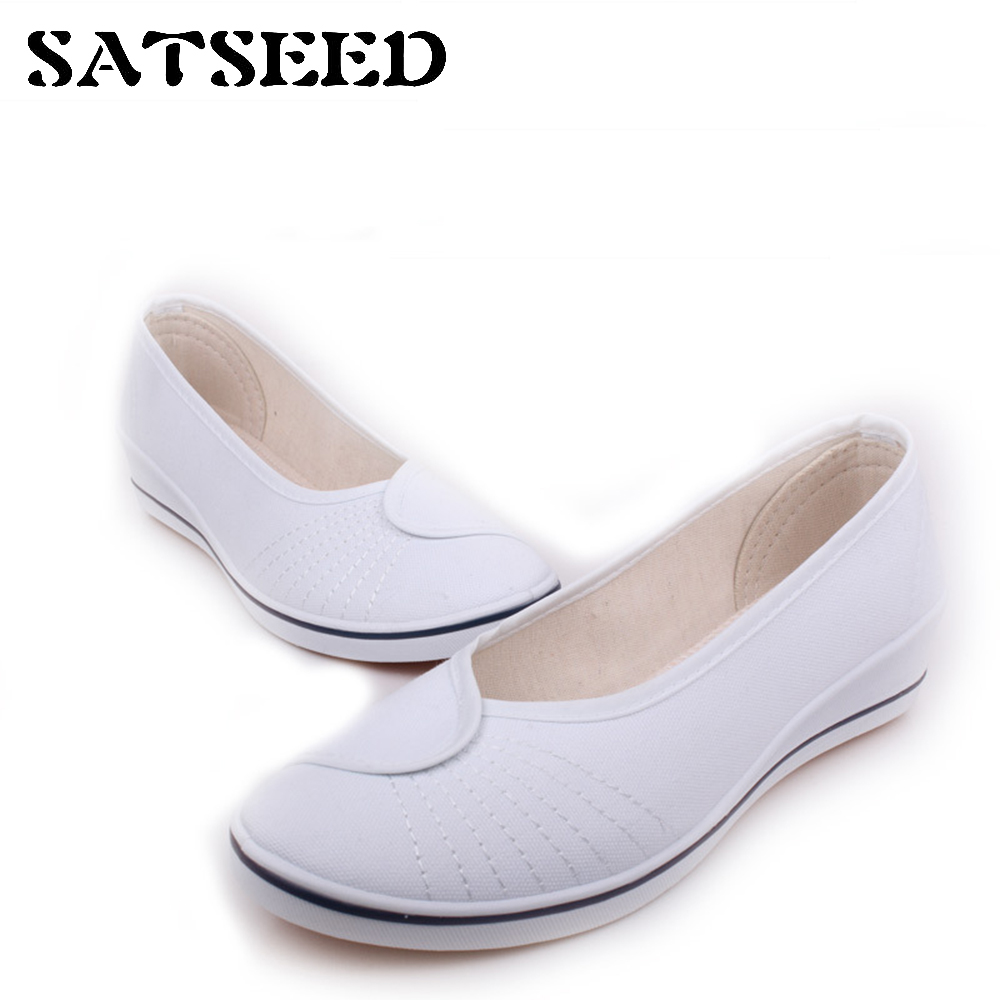 Spring White Nurse Shoes Wedges Old Beijing Canvas Shoes Women Black Work Wedge Women Causal Comfortable Shoes Slip-on Sewing vintage embroidery women flats chinese floral canvas embroidered shoes national old beijing cloth single dance soft flats