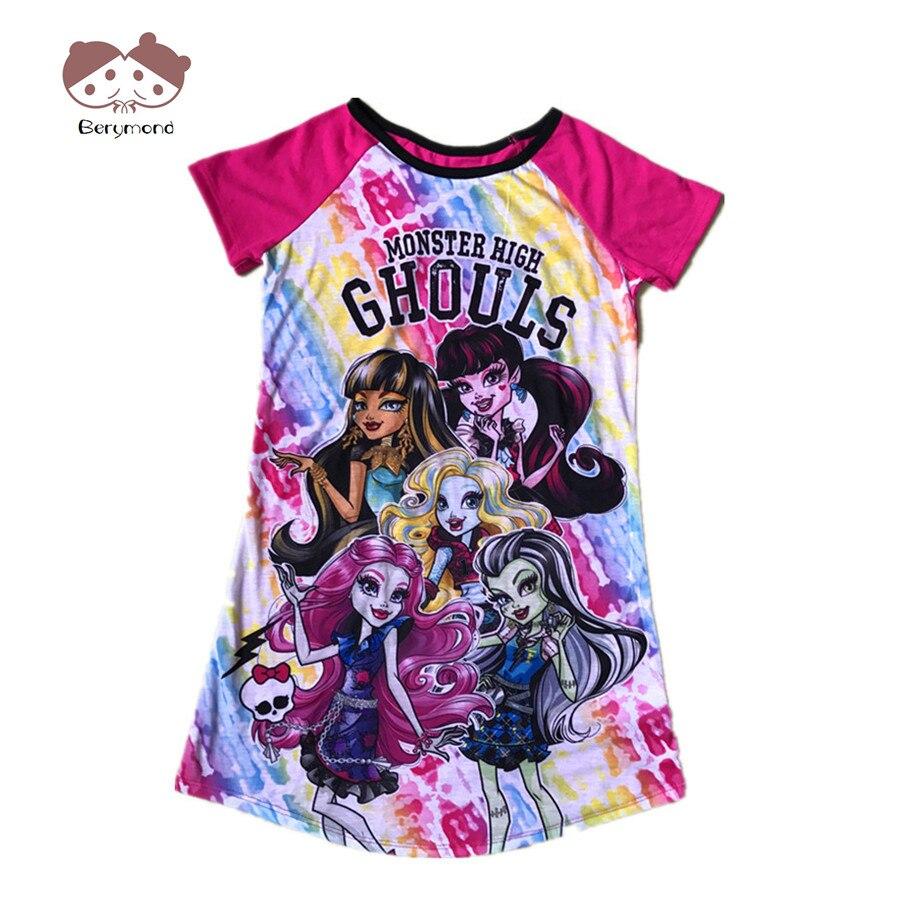 2018 Dívčí letní šaty Monster Princezna šaty Dětské společenské šaty Dívky Monster Girl Krátké rukávy Kostým Pyžama Oblečení