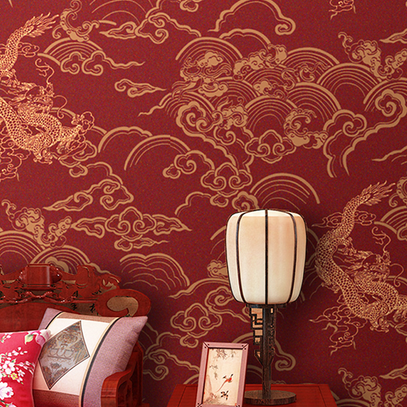 Tea house Chinese dragon wallpaper TV background wall paper non - woven cloth wallpaper Chinese archaize study buddhist temple 100% new and original xgl pmea ls lg plc communication module rnet master