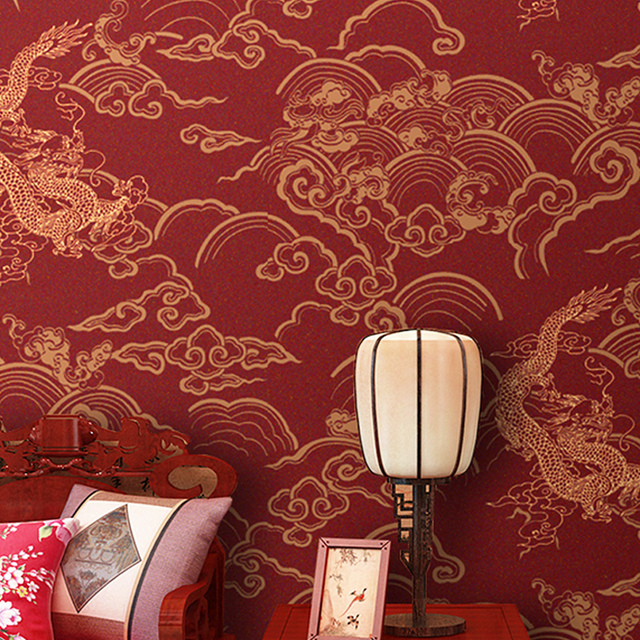 Tea House Chinese Dragon Wallpaper TV Background Wall Paper Non
