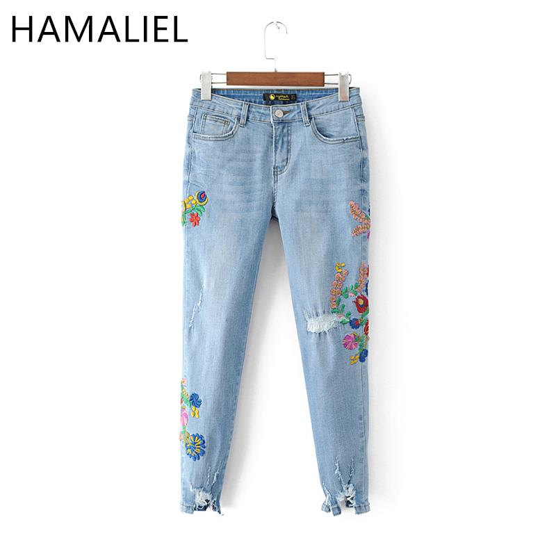 HAMALIEL 2017 New Summer Women Floral Embroidery Denim Holes Stretchy Jeans Plus Size Pockets Ankle Length Pants Casual Trouser pockets casual ankle length embroidery summer hole denim harem pants fashion floral jeans ripped jeans for women tt2395