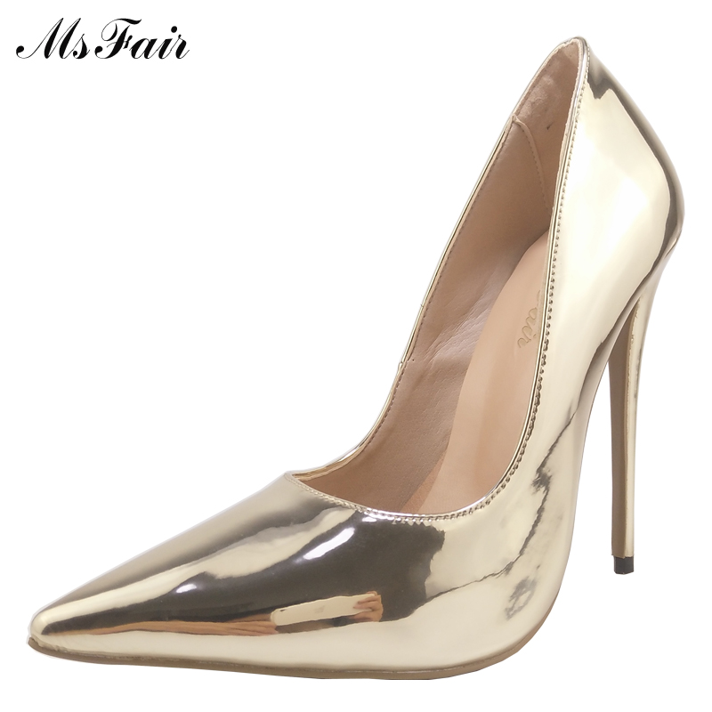 MSFAIR Shallow Classics Women Pumps Thin Heels Pointed Toe High Heels Fashion Stiletto heel Single Shoes 2017 Ladies Girl Pumps ouqinvshen pointed toe high heels bling shallow women pumps new thin heels single shoes casual fashion stiletto heel high heels