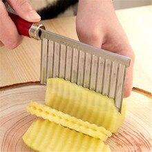 Новая нержавеющая сталь Картофель чип слайсер тесто овощи фрукты Crinkle волнистые ломтерезка нож Картофеля Резак Чоппер фри производитель