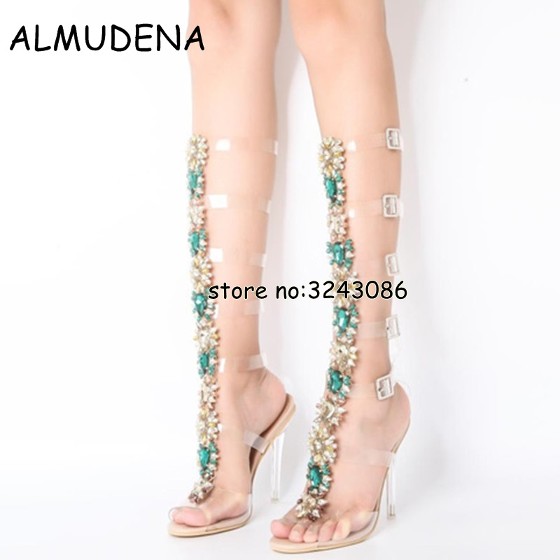 Bohemia Style Lady Knee High Rhinestone Sexy Sandals Boots Buckle Strap Crystal Cut-outs Summer Long Boots Shoes High Heels браслеты bohemia style браслет