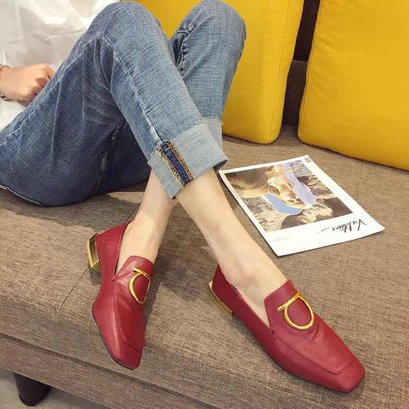 Gastfreundlich Boussac Vintage Karree Frauen Loafers Elegante Metall Dekoration Wohnungen Schuhe Frauen Metall Ferse Flache Damen Schuhe Swa0145