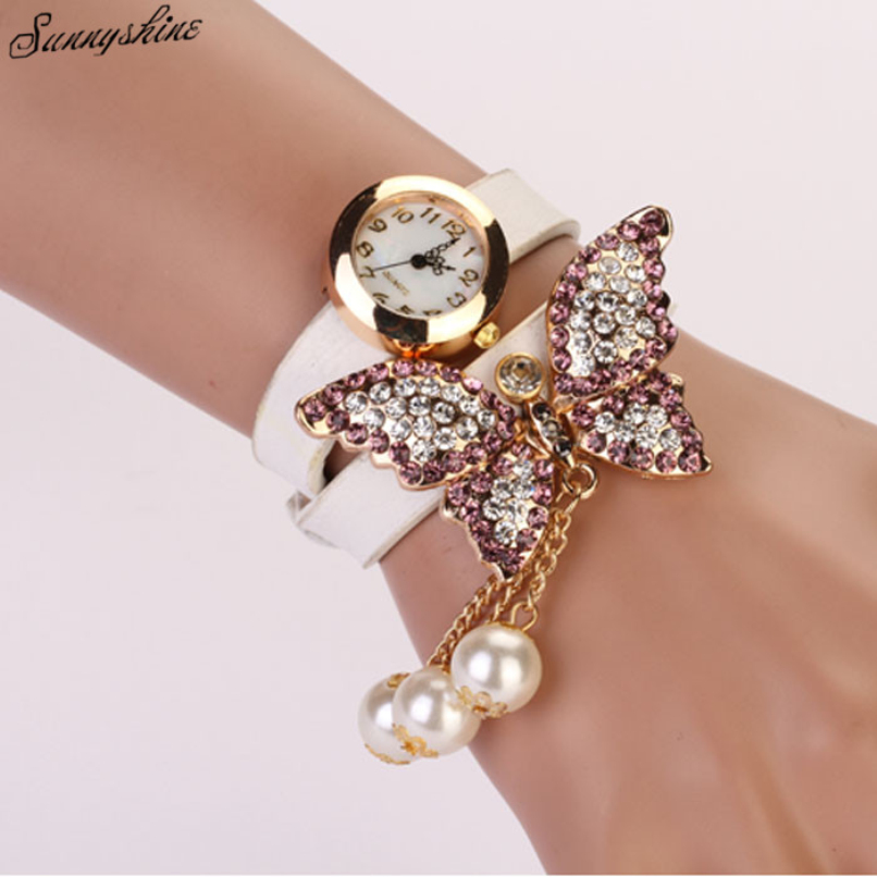 1PC Women Faux Pearls Rhinestone Butterfly Bracelet Quartz Analog ...