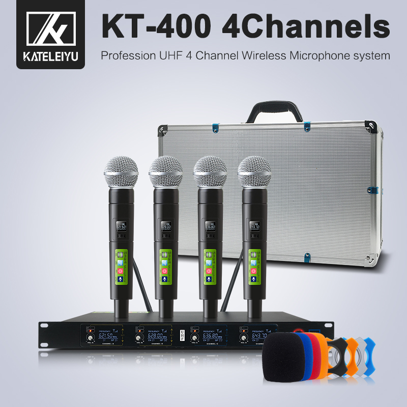 Micrófono inalámbrico micrófono profesional karaoke sistema de estudio UHF 4 canales solapa auriculares de mano KTV micrófono dinámico Karaoke