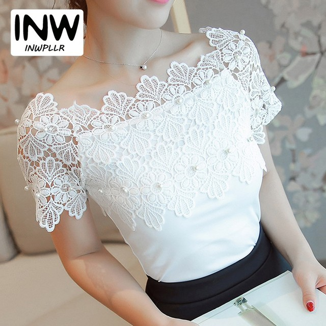 3298d66b94b 2018 Women Shirts White Lace Blouses Slash Neck Beading Tops Lady Renda  Patchwork Blusas Mujer Sexy Hollow Out Blouse Femme
