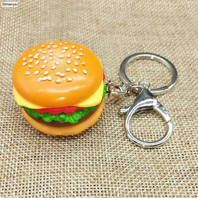 New simulation hamburger Key Chain New Pendant Bag Charm Accessories handmade resin food Car Key Ring Lovely Keychain K1712 1