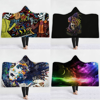 Sugar Skull Flower Hooded Blanket 1