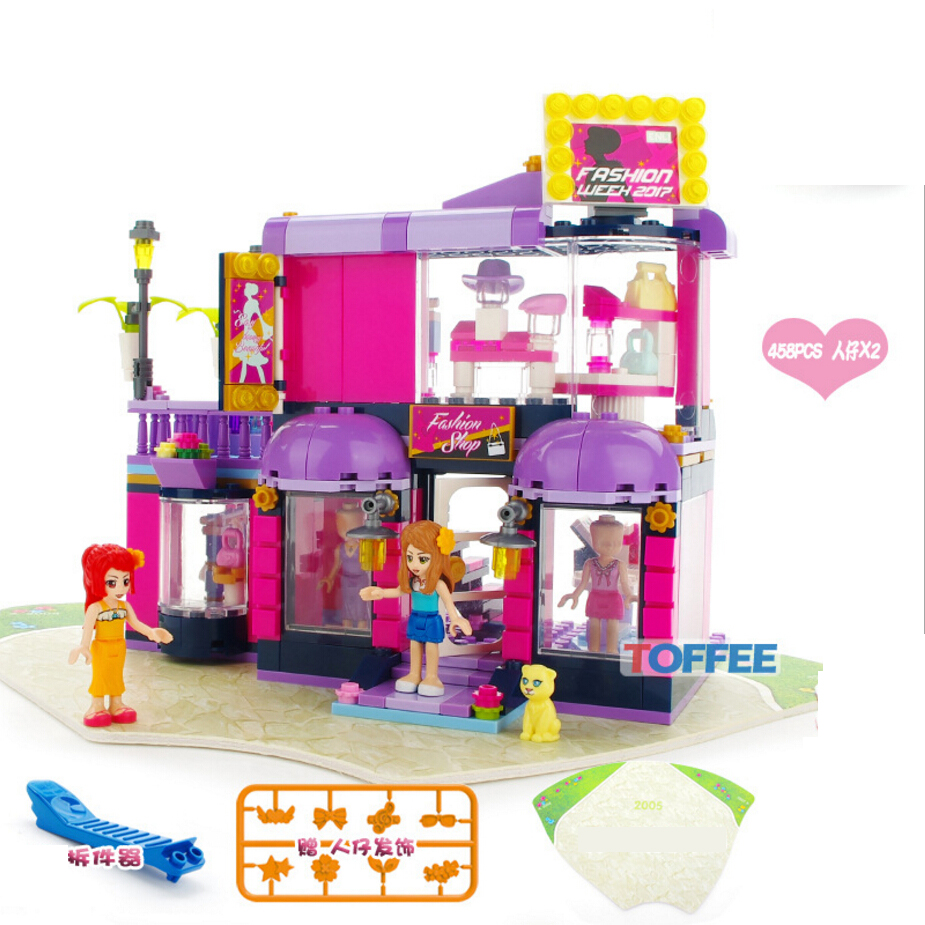 Hot my girls friends clubs Fashion shop Fashion shop scenes building block emily cherry cat figures bricks toys for kids gifts