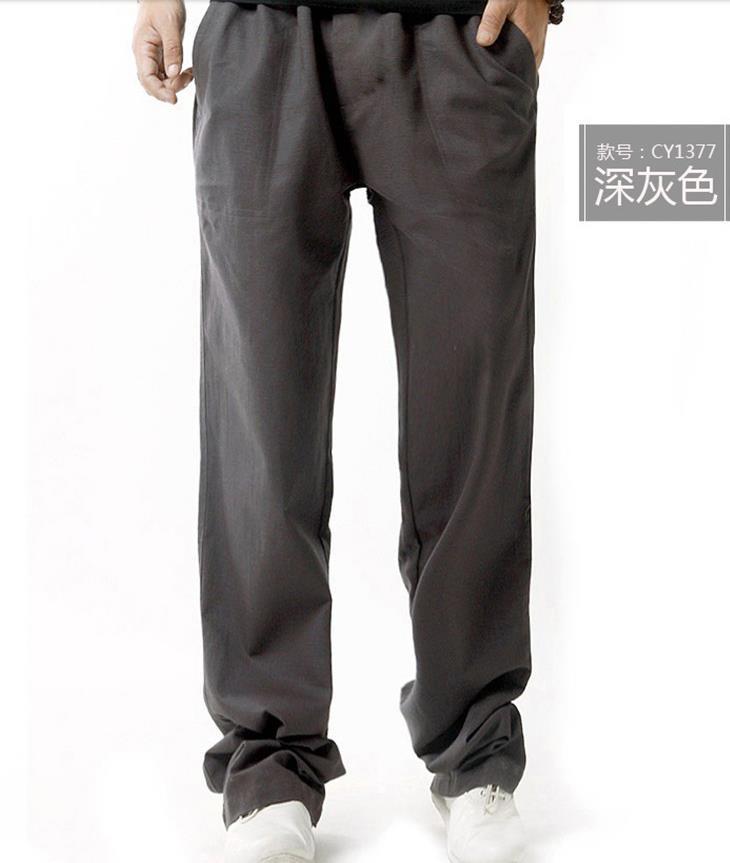 Мужские весенние размера плюс средняя эластичная талия Свободные Полная длина Прямые льняные штаны Мужские дышащие одноцветные хлопковые брюки - Цвет: 3