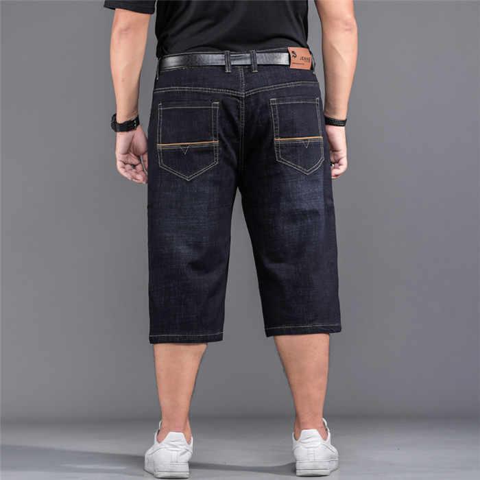 Na co dzień w stylu hip pop, krótka 2019 lato ciemny niebieskie dżinsy męskie deskorolka krótkie dżinsy kieszenie Plus duży rozmiar 32- 48, 904PXS