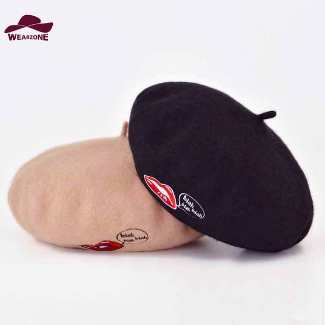 f981bce8f19f1 fashion woman100% Wool winter beret hat Berets sexy red Lips embroidery  Hats elegant felt Beret
