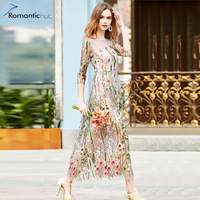 Evening Party Embroidery Dresses Ruway Floral Bohemian Flare Flower Embroidered Vintage Boho Sexy Mesh Women Dresses