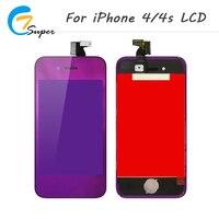 ET 4S de Super Para iPhone4 Pantalla LCD de Pantalla Táctil Con la Asamblea Del Digitizador + contraportada + botón de inicio para iphone4 4S púrpura Espejo LCD