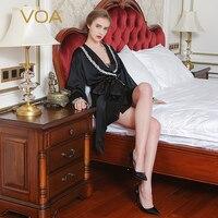 Voa Лето Для женщин шелковые пижамы с длинным рукавом Кружева Ночные сорочки кимоно халат пикантные мягкие удобные черные Вышитые пижамы N6881