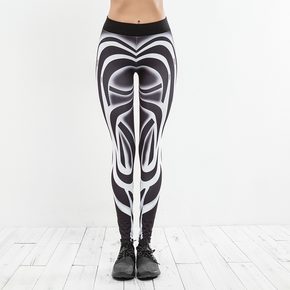 JLZLSHONGLE Hot New! Printed Fitness Black Leggings Womens Stripe Print Slim Jeggings Stretch Workout Sporting Runs Pants