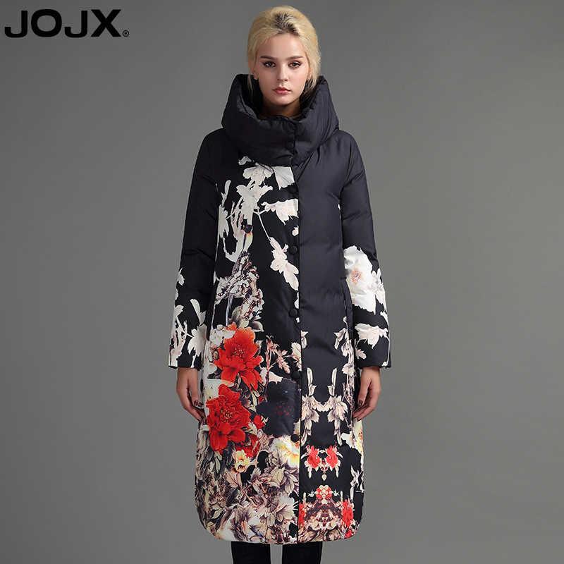 JOJX Bloemenprint dikke Parka vrouwen winter jas 2019 Lange Merk vrouwen jas winter Donsjack Mode Warme Vrouwelijke jassen