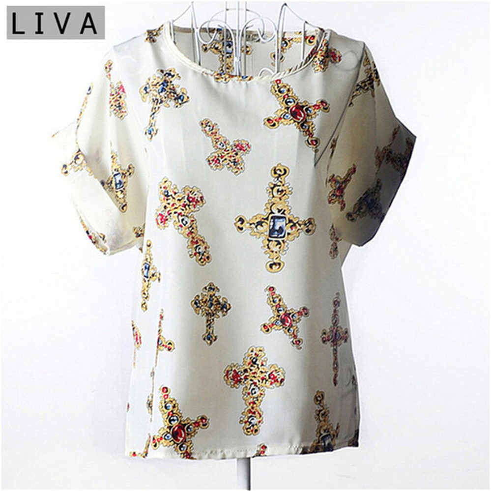 Summer Vintage Wheels Blusas Femininas Womens O-Neck Front Up Short Sleeve Blouse Sexy Multicolor Chiffon Shirt Tops Plus Size (24)