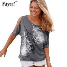 цена на Women Casual Tops Summer T-shirt 2019 Cold Shoulder Top Short Sleeve Tee Shirt O-neck Loose Feather Print Femme Plus Size 5XL