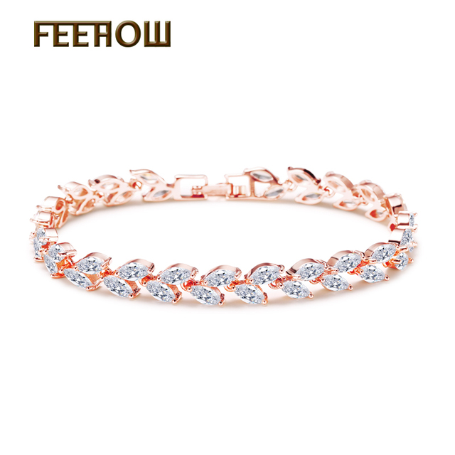 FEEHOW Top Quality Marquise Cut Clear CZ Zirconia Bracelet & Bangles For Women G