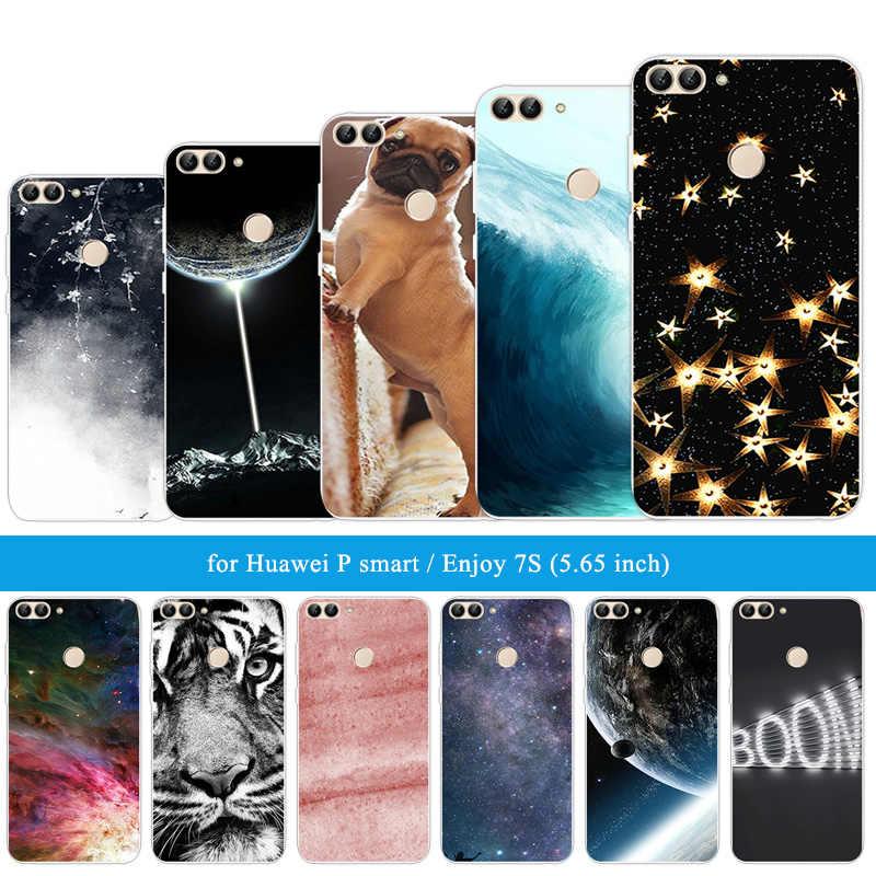 Para Huawei P funda de teléfono ultrafina inteligente de 5,65 pulgadas para Huawei Enjoy 7 S funda de silicona ajustada para Huawei PSmart tigre león Capa