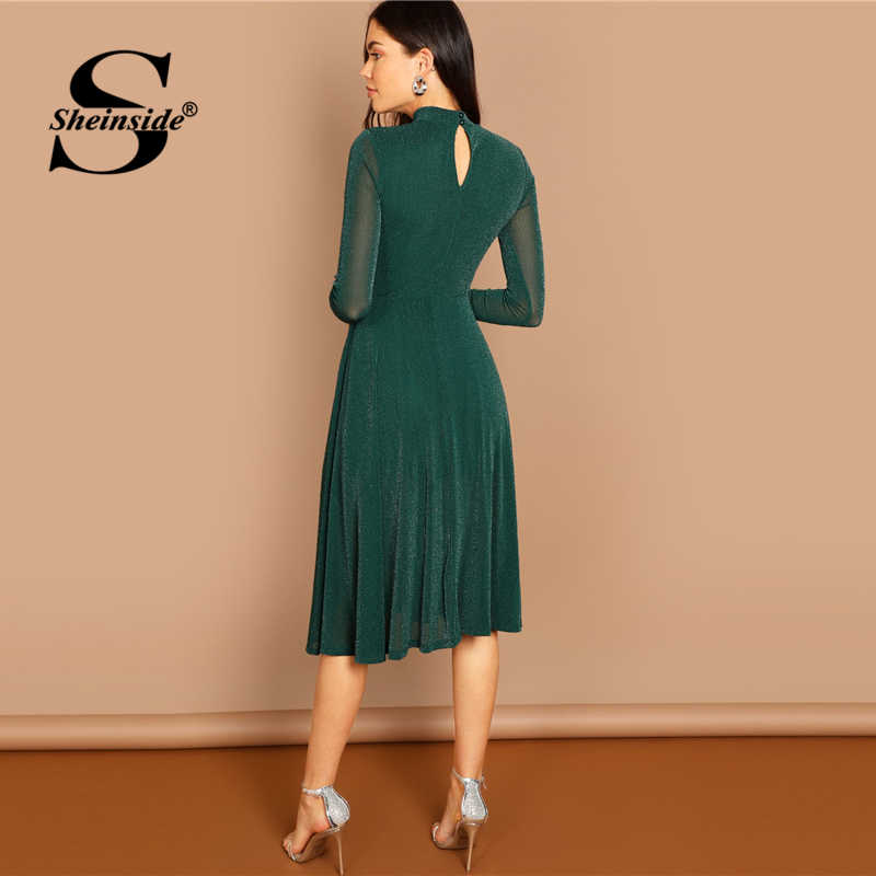 8e6c3afd9f2 ... Sheinside Green Mock Neck Glitter Women Midi Dress Elegant Fit   Flare Long  Sleeve Dresses 2018 ...
