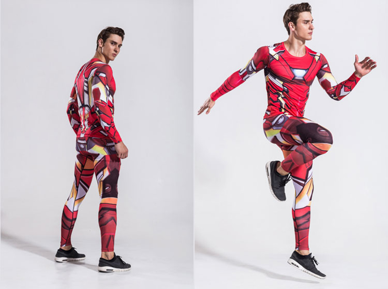 Superhero Ironman Mens Two Piece Set Tracksuit Long Sleeve Crossfit T-shirt Fitness Legging Outfit Pant Compression Suits