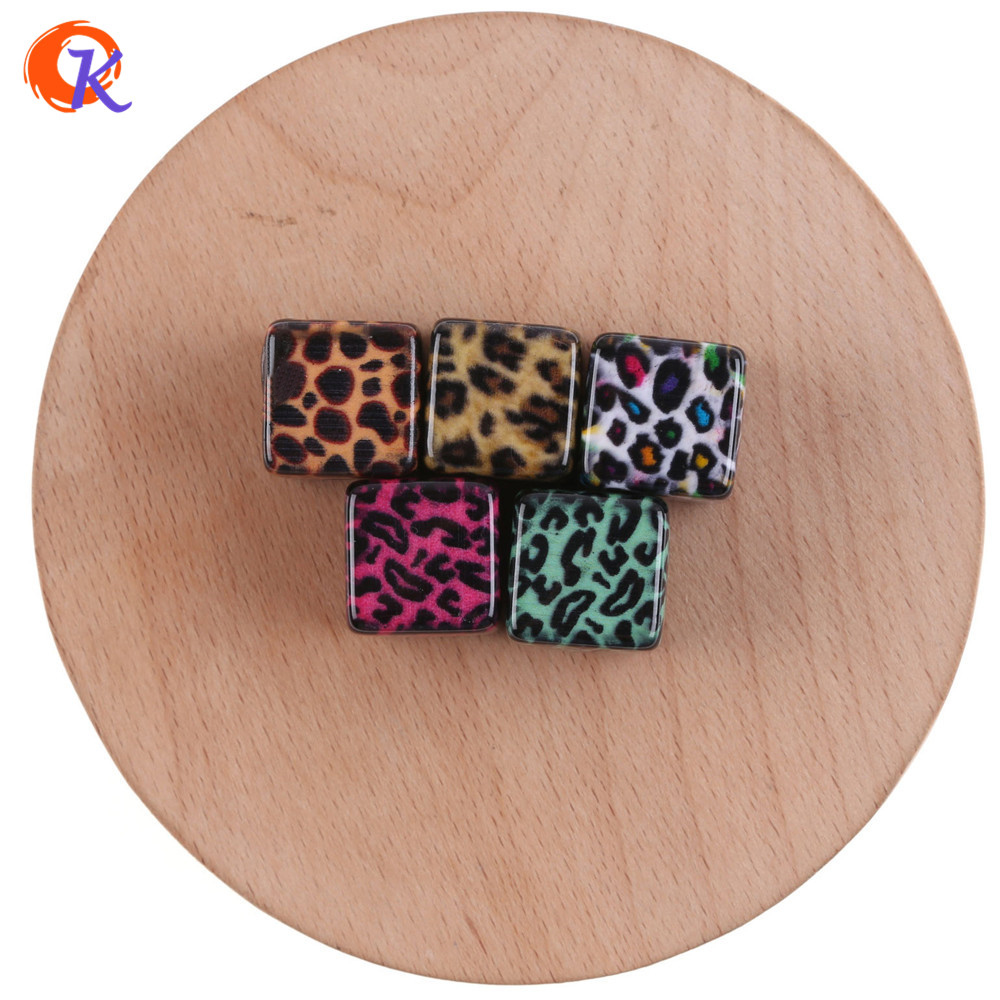 Cordial Design 16mm 50Pcs Hole:3MM Jewelry Accessories/Acrylic Bead/Hand Made/Cube Shape/DIY/Leopard Print Bead/Earring Findings