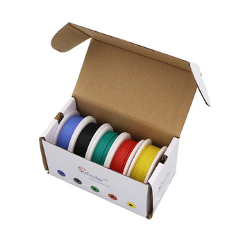 22AWG 30m flexible silicone wire 5 color mixing box 1 package wire and cable tinned copper wire stranding wire DIY 50 meters ul 1007 24awg 5 color mix box 1 box 2 package electrical wire cable line airline copper pcb wire